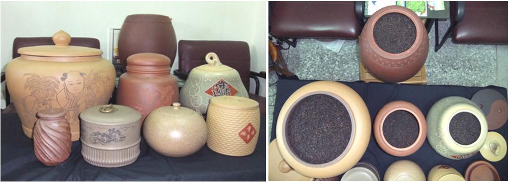 圖六、熷烏龍茶貯藏於各式陶甕中。